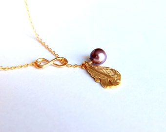 Purple infinity necklace,  feather necklace, pearl necklace, cultured pearl,  feather charm, gold plated infinity charm, infinity necklace