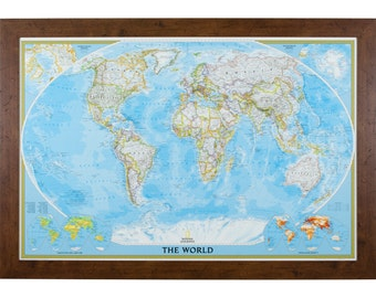 Classic World Push Pin Travel Map, Brown Frame, 24x36-Inch  (5662436MAP01D)
