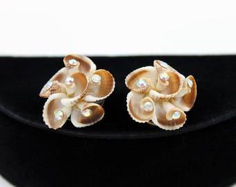 Shell Earrings with Aurora Borealis Rhinestones, ca. 1950s, Vintage Earrings