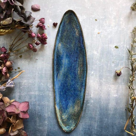 Blue and fog stoneware platter