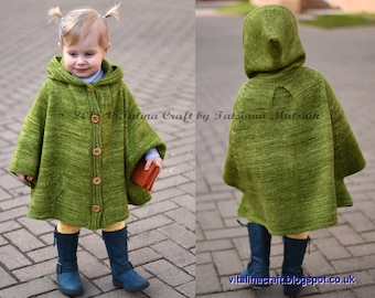 Knitting Pattern - Hearts Queen Poncho (Toddler, Child and Teen sizes)