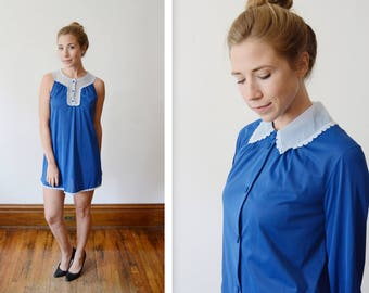 1960s Blue Vanity Fair Babydoll Peignoir Nylon Nightgown Set - XS AS IS
