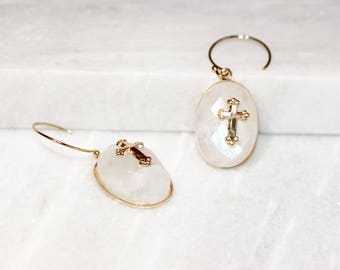 Moonstone gemstone and cross gold plated earrings