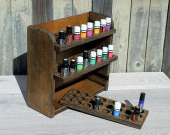 Essential oil storage shelf (holds 72 bottles)