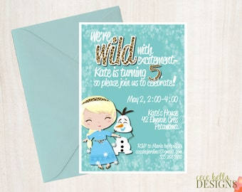 Frozen Inspired Party Printables with Leopard/Cheetah Print - Toddler Kid Girl Elsa - Invitations - Labels - Snow - Winter