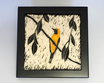 Carved Wall Tile, Oriole Tile, Birding, Bird Lover, Framed Art Tile, Bird Art, Wall Tile,  Framed Tile, Sgraffito Tile, Carved Tile