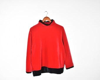 Vintage Long sleeve Red Velvet Mock Turtleneck With Black Accents