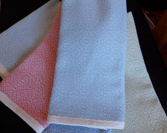 Handwoven Towel in Organic Cotton Natural and Light Blue Kitchen Towel Tea Towel Chefs Towel
