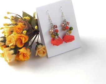 Orange Earrings, Bright chiffon fabric jewelry /Dangle Drop Earrings