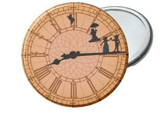 "Peter Pan Clock - Pick From 2.25"" Bottle Opener - Pinback Button - Magnet - Mirror - Ornament"