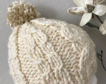Knitted Cable Women's Winter Hat cream and beige.
