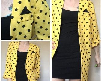 1980s yellow black polka dot oversized shirt jacket uk 12
