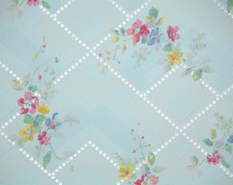 1920's Vintage Wallpaper - Antique Floral Wallpaper Pink and Yellow floral on Blue with Silver Deco Design