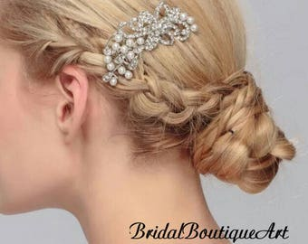 Small wedding hair comb,bridal hair comb,bridal hair accessories,pearl hair comb,rhinestone hair comb