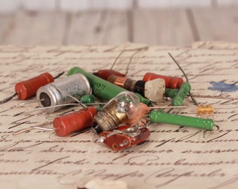 Vintage capacitors, Resistors and diodes, Scrap electronics, Audio electrical parts, Art supplies steampunk, Lot of electronic components