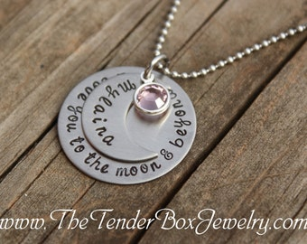 personalized necklace I love you to the moon and beyond hand stamped disc and moon name pendant necklace.