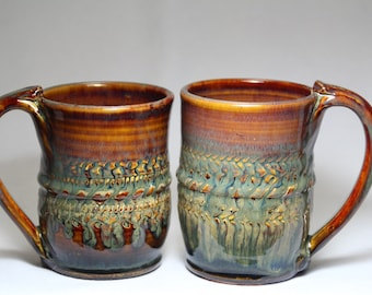 12oz ceramic mug set, two pottery mug