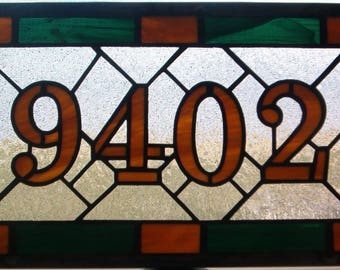 Custom Stained Glass Address Plaque, House Numbers, Personalized Gift, Window Panel