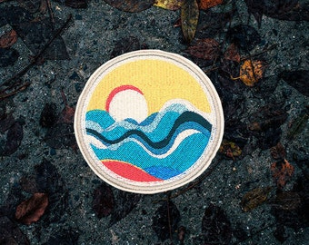 The Sunset Patch / Set Of 2 Patches - Embroidered - Sew-On - Jacket Patches | Handmade