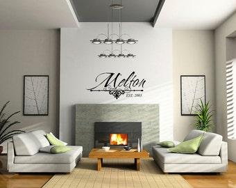 Family Name Decal, Vinyl Family Name Established, Family Established Vinyl Wall Art, Family Established Sticker 0029