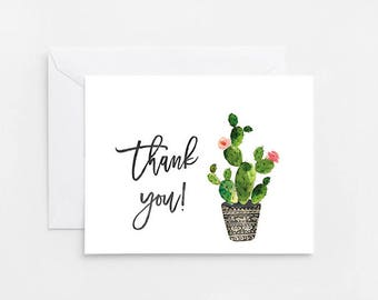 Cactus Thank You Card, Printable Card (727 728)
