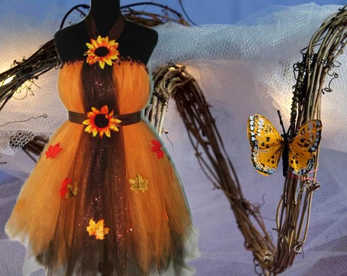 Chocolate and Pumpkin Gold Tulle Tutu Dress
