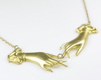Hand necklace retro Victorian brass Georgia O'Keeffe