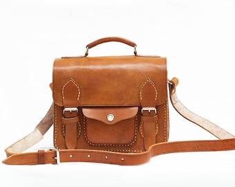 Brown Leather Camera Bag, Medium Size Leather Camera Bag, Women/Men Leather Bag, Leather Camera Case, Shoulder Bag, Messengers Bag