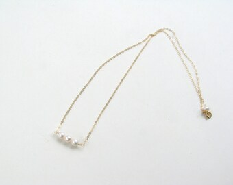 Natural Pearl Necklace, Dainty Gold Necklace, Three Pearl Necklace, Freshwater Pearl Bar, Gold Pearl, Single Strand, Real Pearl Jewelry