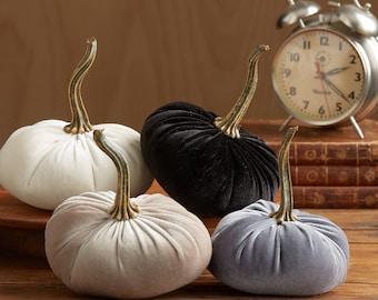 Velvet Pumpkins Set of 4, Fall wedding decor, wedding centerpiece, rustic home decor trends, mantle decor, gifts for her, best selling item