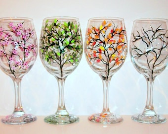 4 Seasons Hand Painted Wine Glasses Set - 4 -20 oz Wine Glasses The Four Seasons of Winter Spring Summer & Fall Snow Blossoms
