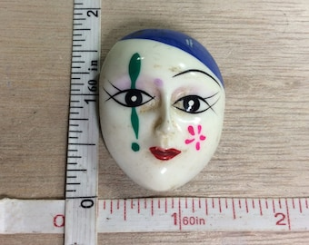Vintage Porcelain Mask Face Pin Brooch Needs Cleaned Used