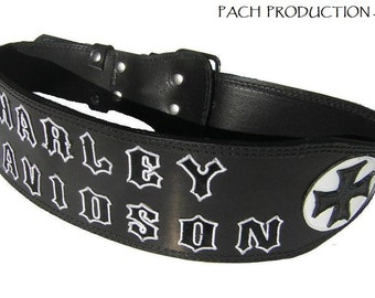 Custom written with Bikers leather belt
