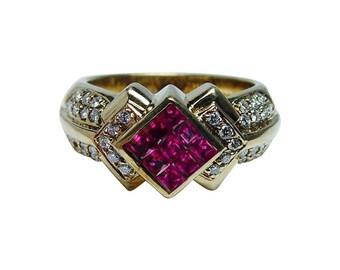 Vintage 18K Gold Princess Ruby VS-GH Diamond Ring HEAVY 9.9gr Estate