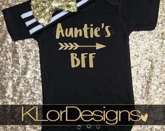 Auntie is my Bestie baby outfit, baby girl, new aunt gift, Baby Girl, Auntie's BFF shirt, Baby Shower Gift, baby girl bodysuit