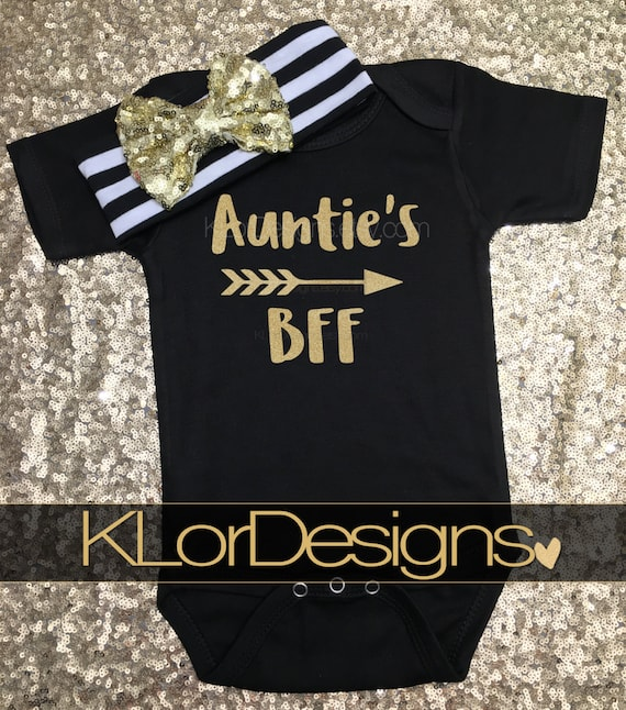 Auntie is my Bestie baby outfit baby girl new aunt gift