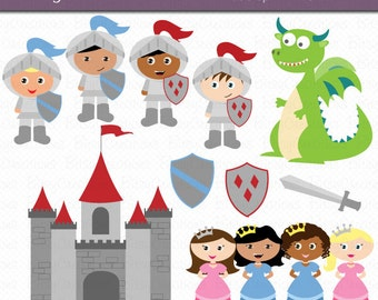 Knights and Dragon Digital Art Set Clipart Commercial Use Clip Art INSTANT Download Dragon Clipart Princess Clipart Knight Clipart