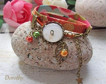 "Liberty bracelet ""dream"" cabochon orange / green / red"