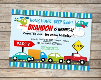 Transportation Cars Trucks Airplane Invitation, Cars Trucks Birthday Party Invitation, Transportation Vehicles Invites, Digital Or Printed