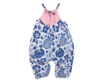 Baby Harem Romper Blue Linen Romper Linen Pants Romper Pink and Blue Romper Pink and Blue Floral Linen Baby Outfit Linen Toddler Outfit