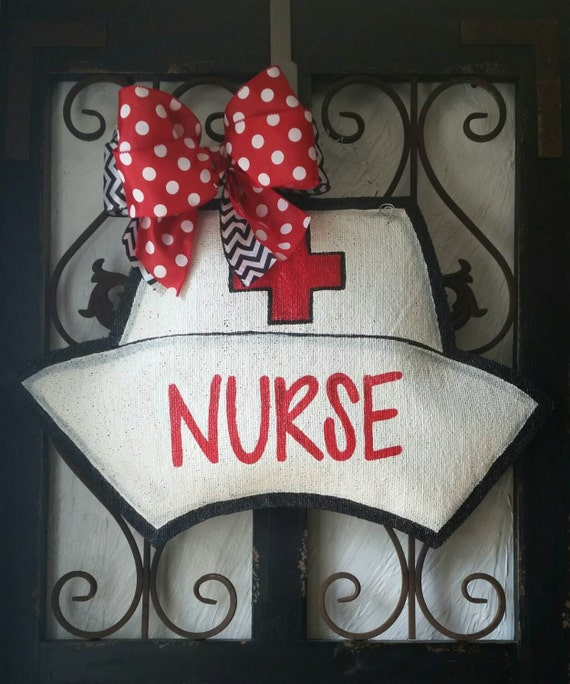 Nurse Hat Burlap Door Hanger Decoration And Wreath Replacement