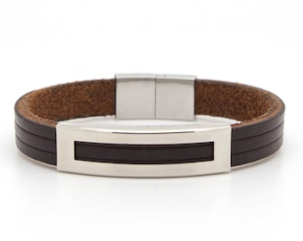 Brown leather cuff, Brown leather bracelet, Men's bracelet - the Helios