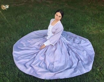 Civil War Era Dress, Lavender Victorian Tea Dress with Hoop Skirt