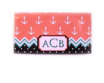 Personalized checkbook cover - Nautical Nice - custom monogram - anchors and waves - coral turquoise black - coastal beach chic