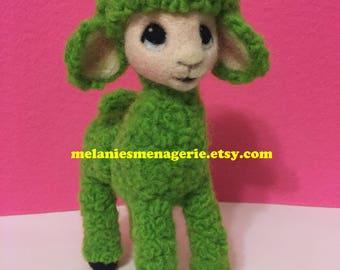 Llama Alpaca Felted Soft Sculpture Figurine Art Doll Original By Artist Green Llama Vintage Anthropomorphic Inspired Forties Fifties Styled