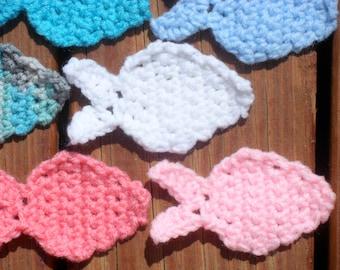 Fish Appliques, Crochet Fish, Blue Fish, Pink Fish, White Fish, Nursery Decor, Fish Embellishments, Table Decorations, Baby Room Decor