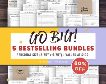 Personal Planner Inserts, Printable | GO BIG bundle | Filofax Personal Size Planner Pages, Instant Download