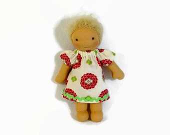 7 inch, 8 inch, 9 inch Waldorf doll dress, pink and green zinnia doll dress, toy clothing, tiny doll dress