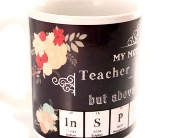 Mother's Day Mug Science Chemistry Periodic Table Mom Mum Coffee Cup Chalkboard Art Floral