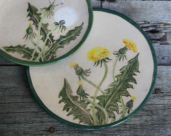 Ceramic plates set hand built, Dandelion, pottery plates, dandelion hand painted, dinner plates set, serving dishes